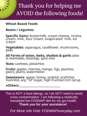 Low FODMAP Diet Easy To Use Info Card for eating out.