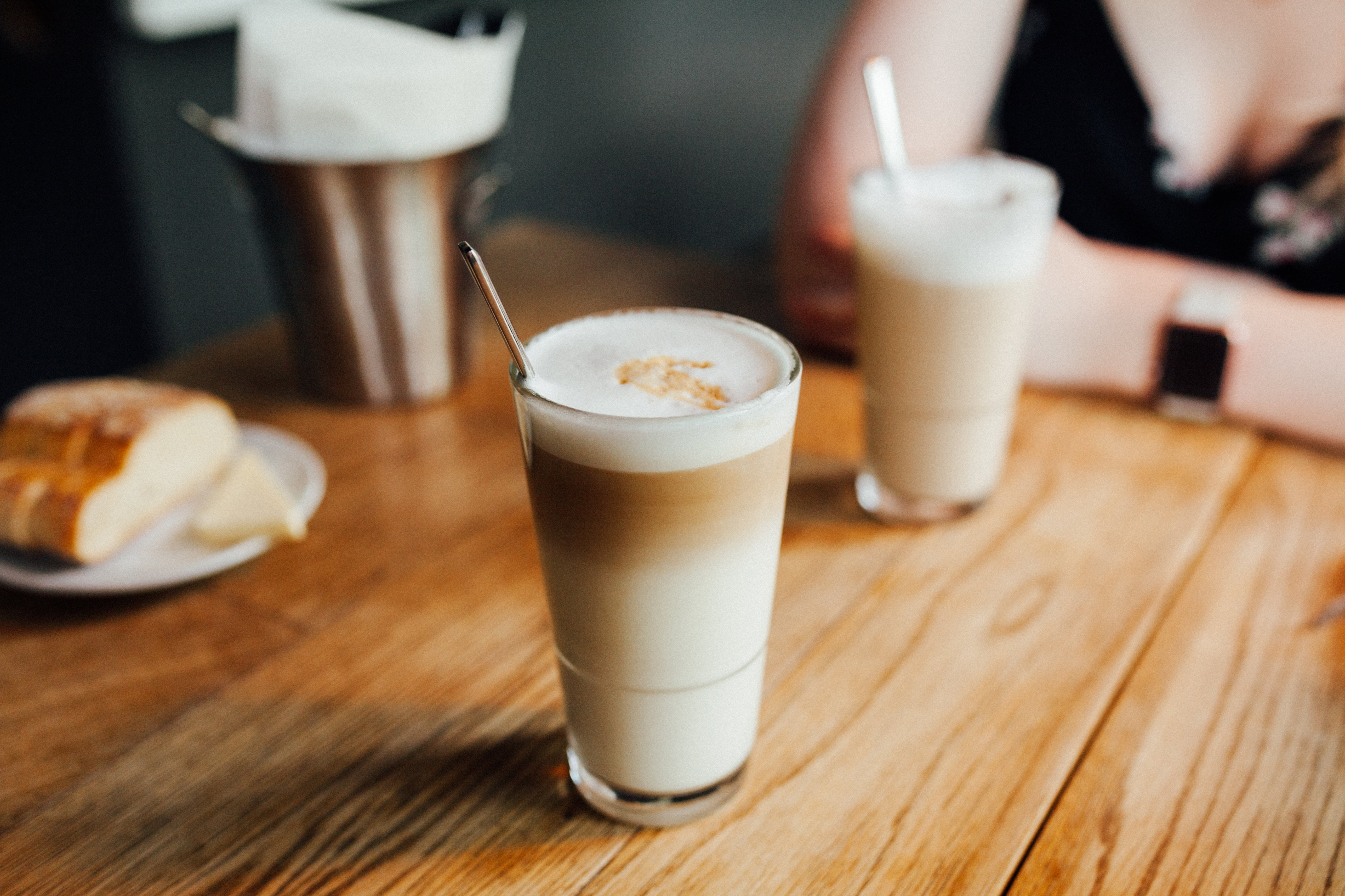 cafe lattes on a wooden table