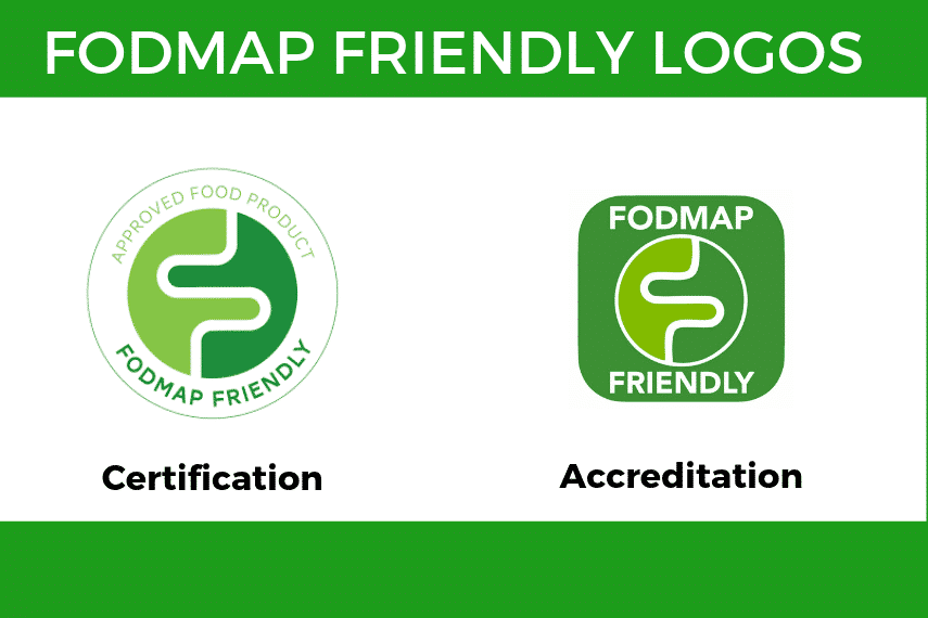 A graphic with the two FODMAP Friendly Logos displayed