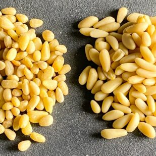 Two piles of pine nuts, comparing varieties, on grey background 2